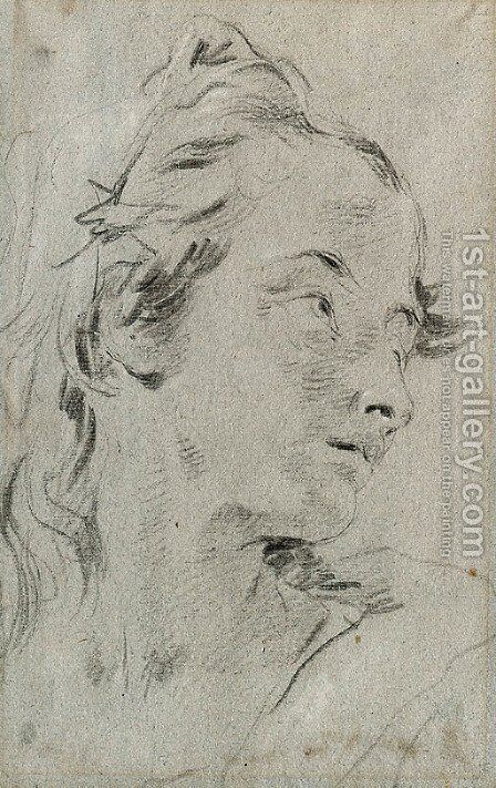 The Head of a young Woman, turned to the right by Giovanni Battista Tiepolo - Reproduction Oil Painting