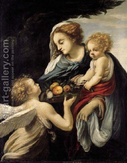 The Madonna and Child with an Angel by Giovanni Battista Vanni - Reproduction Oil Painting