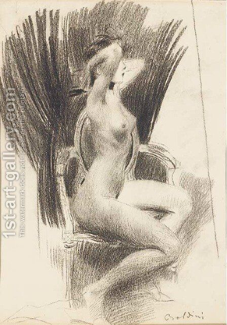 A female nude seated in an armchair in profile to the right by Giovanni Boldini - Reproduction Oil Painting