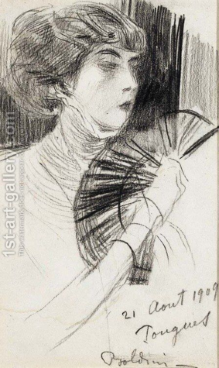 A woman with a fan by Giovanni Boldini - Reproduction Oil Painting