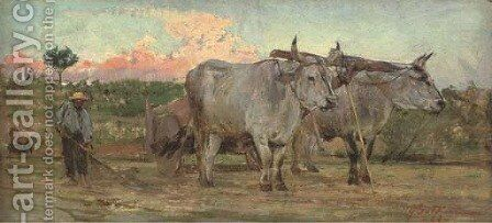 Oxen in the Tuscan countrside by Giovanni Boldini - Reproduction Oil Painting