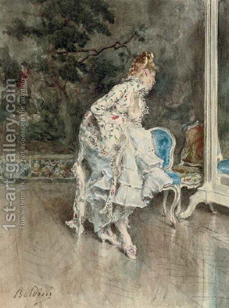 Signora in abito impero che si specchia (Lady in a mirror) by Giovanni Boldini - Reproduction Oil Painting