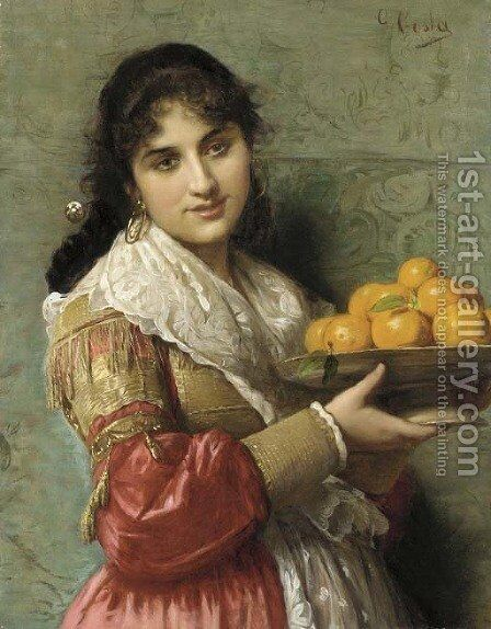 A Young Italian Beauty with a Plate of Oranges by Giovanni Costa - Reproduction Oil Painting