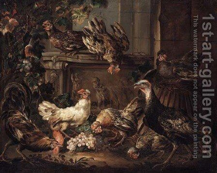A turkey, a cockerel and hens eating grapes by a bas relief by Giovanni Crivelli, Il Crivellino - Reproduction Oil Painting
