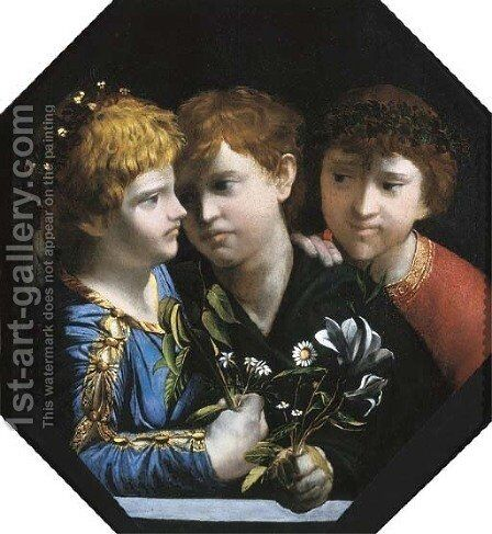 An allegory with three boys Sacred and Profane Love by Dosso Dossi (Giovanni di Niccolo Luteri) - Reproduction Oil Painting