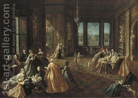 The interior of a palace with elegant figures by Giovanni Domenico Lombardi - Reproduction Oil Painting