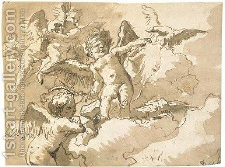 A blindfolded putto standing on a cloud with other putti and an eagle by Giovanni Domenico Tiepolo - Reproduction Oil Painting