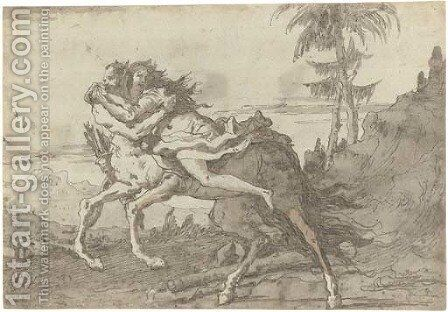 A centaur abducting a nymph in a landscape by Giovanni Domenico Tiepolo - Reproduction Oil Painting