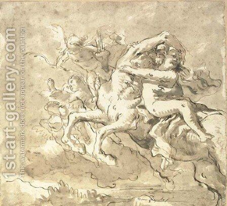A centaur carrying off a nymph, accompanied by putti by Giovanni Domenico Tiepolo - Reproduction Oil Painting