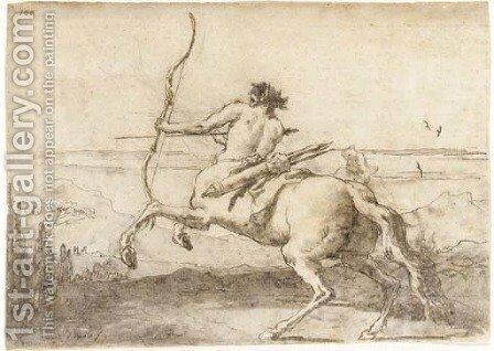 A centaur drawing a bow in a landscape by Giovanni Domenico Tiepolo - Reproduction Oil Painting