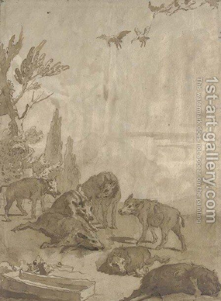 A pack of wolves with three dead boar, a flock of geese above by Giovanni Domenico Tiepolo - Reproduction Oil Painting