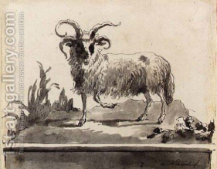 A ram walking to the left by Giovanni Domenico Tiepolo - Reproduction Oil Painting