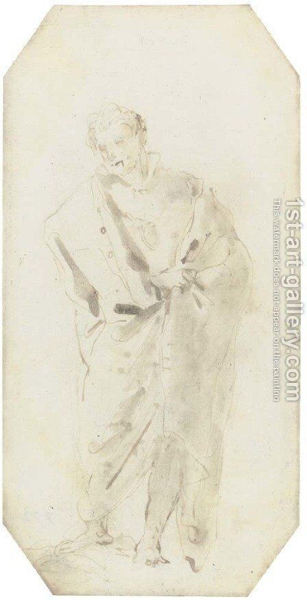 A standing figure in a cloak by Giovanni Domenico Tiepolo - Reproduction Oil Painting