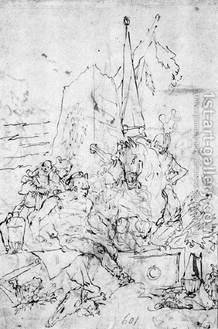 A warrior consulting magicians at a mausoleum by Giovanni Domenico Tiepolo - Reproduction Oil Painting
