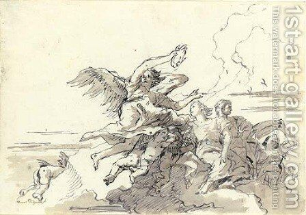 An angel with a victor's crown in the clouds, putti, a young couple and another figure offering a dish by Giovanni Domenico Tiepolo - Reproduction Oil Painting