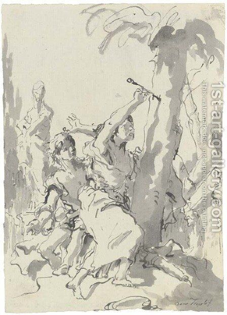 Angelica and Medoro by Giovanni Domenico Tiepolo - Reproduction Oil Painting
