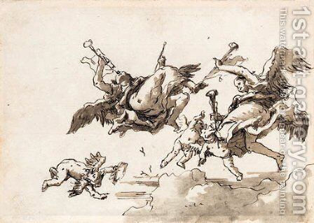 Angels in flight blowing trumpets by Giovanni Domenico Tiepolo - Reproduction Oil Painting