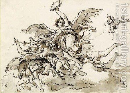 Angels with a Victor's Crown and Putti in the Clouds by Giovanni Domenico Tiepolo - Reproduction Oil Painting