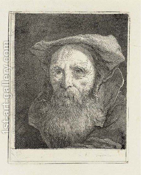 Bearded old Man with a Hat, from Raccolta di Teste II by Giovanni Domenico Tiepolo - Reproduction Oil Painting