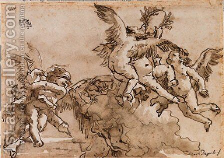 Blindfolded Cupid and flying putti playing with a laurel crown by Giovanni Domenico Tiepolo - Reproduction Oil Painting