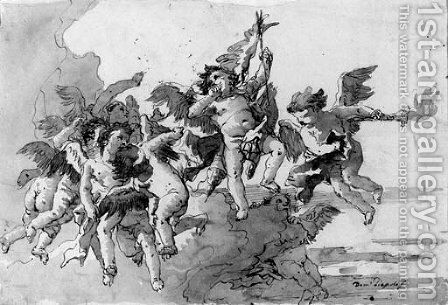 Cupid with putti and a torch amongst clouds by Giovanni Domenico Tiepolo - Reproduction Oil Painting