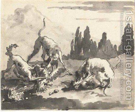 Dogs attacking chickens in a landscape by Giovanni Domenico Tiepolo - Reproduction Oil Painting