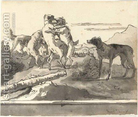 Dogs playing in a landscape by Giovanni Domenico Tiepolo - Reproduction Oil Painting