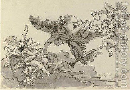 Fame with angels and putti with wreaths by Giovanni Domenico Tiepolo - Reproduction Oil Painting