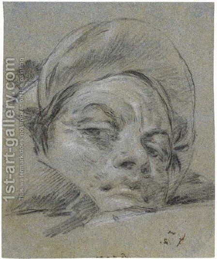 Head of a young man wearing a turban by Giovanni Domenico Tiepolo - Reproduction Oil Painting