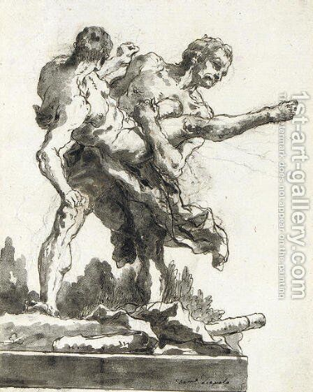 Hercules and Antaeus 4 by Giovanni Domenico Tiepolo - Reproduction Oil Painting