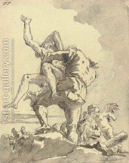 Hercules and Antaeus 6 by Giovanni Domenico Tiepolo - Reproduction Oil Painting