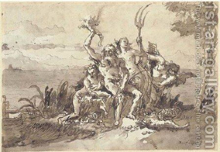 Neptune, Amphitrite and Time with a Nereid 2 by Giovanni Domenico Tiepolo - Reproduction Oil Painting