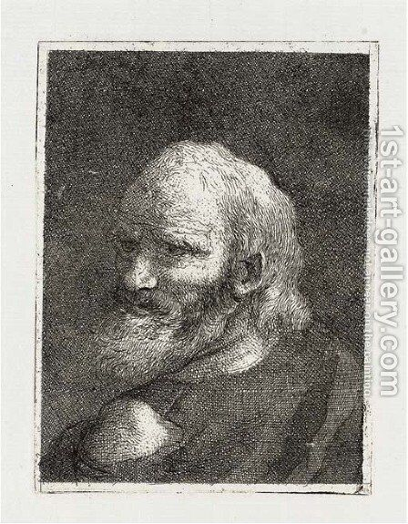 Old Man with a Beard, from Raccolta di Teste II by Giovanni Domenico Tiepolo - Reproduction Oil Painting