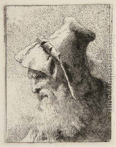Profile of an old Man with a Beard, from Raccolta di Teste by Giovanni Domenico Tiepolo - Reproduction Oil Painting