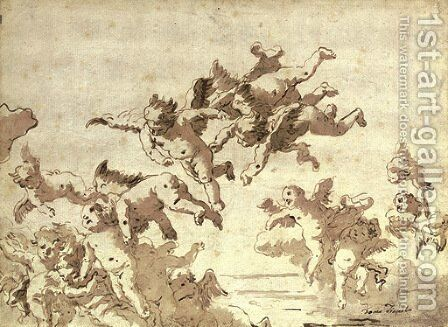 Putti in flight by Giovanni Domenico Tiepolo - Reproduction Oil Painting