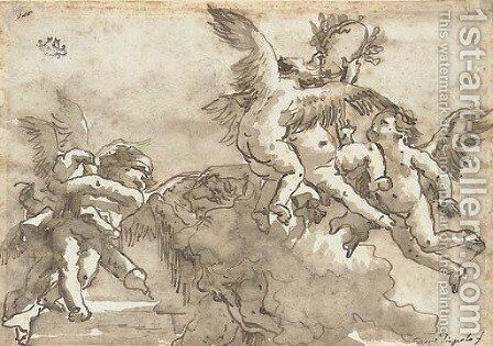 Putti playing with a crown of laurels, Cupid blindfolded to the left by Giovanni Domenico Tiepolo - Reproduction Oil Painting
