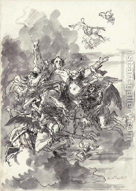 Saint Lawrence carried up to heaven by angels by Giovanni Domenico Tiepolo - Reproduction Oil Painting