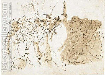 Study of a crowd by Giovanni Domenico Tiepolo - Reproduction Oil Painting