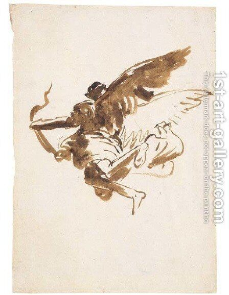Study of a flying angel by Giovanni Domenico Tiepolo - Reproduction Oil Painting