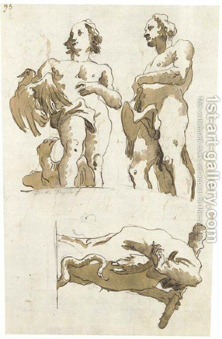 Two studies of Hercules by Giovanni Domenico Tiepolo - Reproduction Oil Painting
