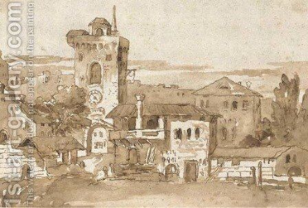 View of a village with a tower, after Marco Ricci by Giovanni Domenico Tiepolo - Reproduction Oil Painting