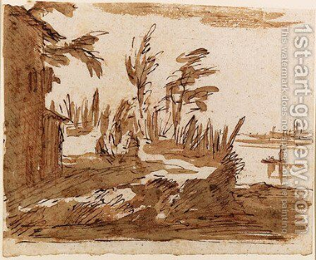 A View of the Lagoon with three Figures by a House, Venice in the background by Giovanni Domenico Tiepolo - Reproduction Oil Painting