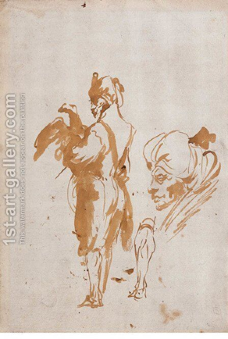An Oriental holding an Eagle, and a subsidiary study of a head and a leg by Giovanni Domenico Tiepolo - Reproduction Oil Painting