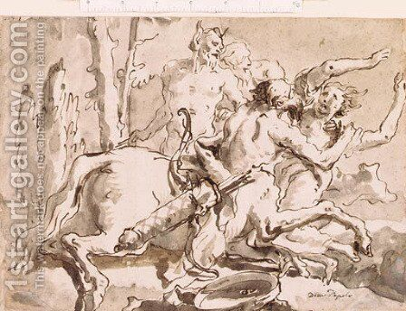 Nessus and Deianeira, with a satyr and another figure by Giovanni Domenico Tiepolo - Reproduction Oil Painting