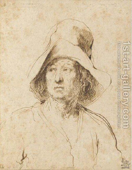 A man in a hat looking to the left, bust-length by Giovanni Francesco Guercino (BARBIERI) - Reproduction Oil Painting