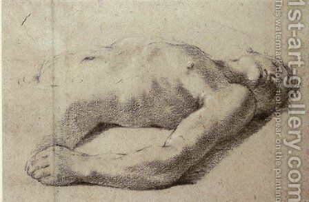 A reclining nude, half-length by Giovanni Francesco Guercino (BARBIERI) - Reproduction Oil Painting