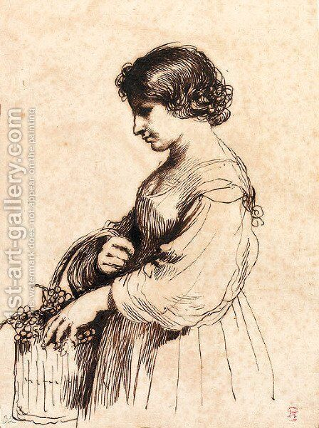 A young girl holding a basket of grapes by Giovanni Francesco Guercino (BARBIERI) - Reproduction Oil Painting
