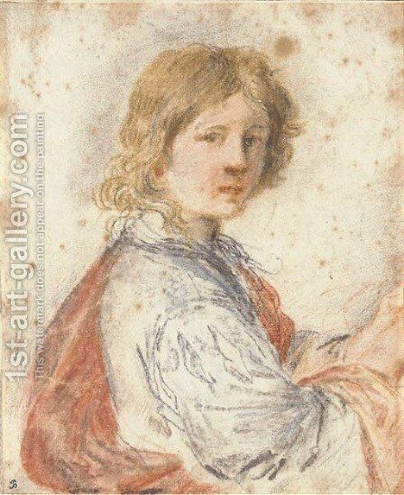 A young man, half-length by Giovanni Francesco Guercino (BARBIERI) - Reproduction Oil Painting