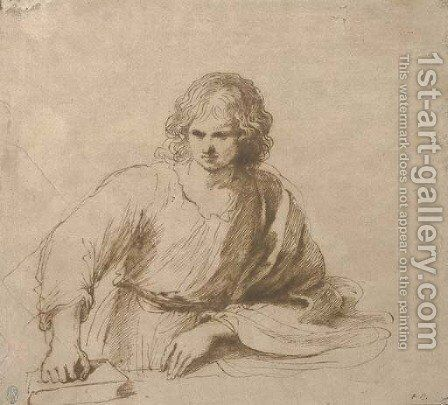 A young man, half-length, resting his right hand on a book by Giovanni Francesco Guercino (BARBIERI) - Reproduction Oil Painting