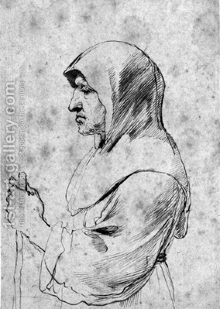 An old monk standing in profile to the left, holding a staff by Giovanni Francesco Guercino (BARBIERI) - Reproduction Oil Painting